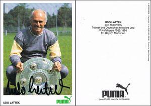 Lattek, 1986, Puma, rücks. 'Trainer des Deutschen Meisters und Pokalsiegers 1985-86'
