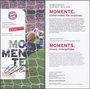 Bayern Erlebniswelt, 2018, 'Momente', Verlängerungs-Flyer Kahn, signiert Kahn im Febr. 2019