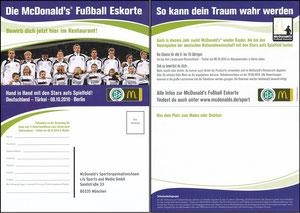 DFB, 2010, McDonalds 'WM-Eskorte', Klappkarte