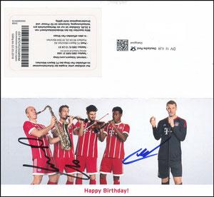 FanShop, 2017, Geburtstags-Gutschein, signiert Robben im März 2018 und Neuer im Januar 2019