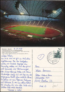 Postkarte, 1988, Olympiastadion München, Huber-Karte, Rückseite 1