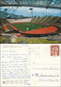 Postkarte, 1972, Olympiastadion München,  Olympische Spiele, Ziehten-Karte