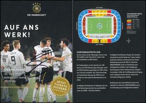 DFB, 2019, Ankündigungskarte 'Deutschland - Serbien', signiert Gnabri im Mai 2019