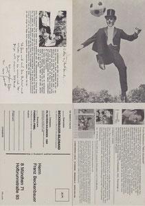 Beckenbauer, 1968, 'Gentleman am Ball', Klappkarte , Dank an SF Norbert