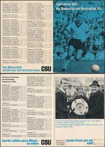 Beckenbauer, 1969, CSU, Leporello 'Bundesliga-Spielplan'