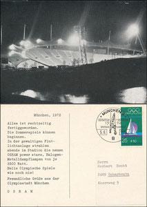 Postkarte, 1974, Olympiastadion München, Werbekarte von OSRAM