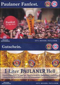 Paulaner, 2019, Paulaner 'Fanfest, Meisterfeier' Gutschein am 18.05