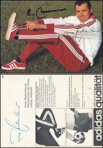 Beckenbauer, 1968, Adidas 'Weltberühmt durch Qualität', Motiv 3, rücks. 2 Fotos