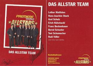 Beckenbauer, 2001, Premiere AllStars, Team-Karte, Dank an SF Norbert