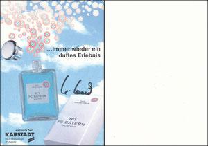 Postkarte, 1995, Karstadt, 'Eau de Bavaria', signiert Hoeness