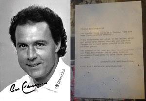 Beckenbauer, 1980, Diner's Club,  Dank an SF Heiko