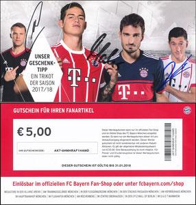 FanShop, 2017, Gutschein aus Adventskalender, sign. Hummels im Mai 2019, Neuer am 28.10.2019 und Alaba am 18.01.2019