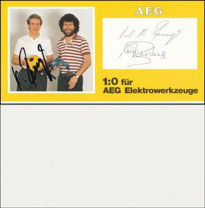 """Gemeinschaftskarte, 1980,  Rummenigge-Breitner, AEG, """"ohne Namen"""""""