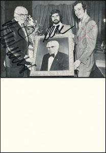 Gemeinschaftskarte, 1973, Neudecker, Müller, Beckenbauer '60. Geburtstag Neudeckers'
