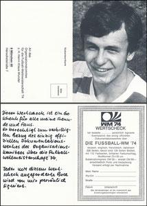 Wunder, 1974, WM Wertscheck, Klappkarte