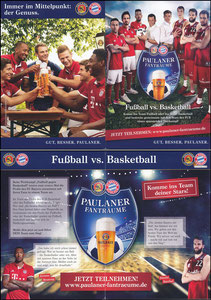 Paulaner, 2017, 'Fußball vs. Basketball', Version 1 'OHNE Lahm', A6-Klappfolder