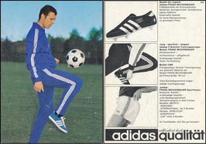 Beckenbauer, 1968, Adidas 'Weltberühmt durch Qualität', Motiv 4b, rücks. ohne Druck-AG