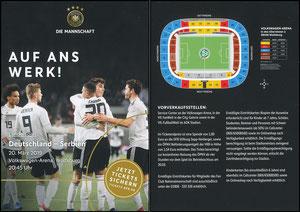 DFB, 2019, Ankündigungskarte 'Deutschland - Serbien'