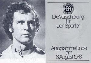 Beckenbauer, 1976, Erste Allgemeine Versicherung, Dank an SF Norbert