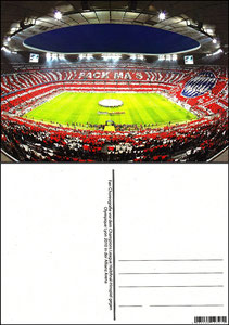 Fan Shop, Postkarte, '2010, Fan-Choreographie CL-Spiel Allianz Arena', Dank an SF Sven