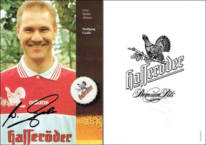 Grobe,1990er, Uwe-Seeler-Allstars 'Hasseröder', rotes Trikot, Dank an SF Michael