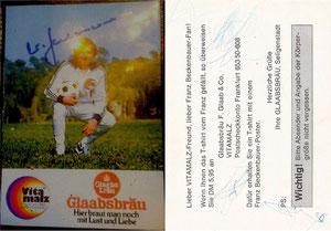 Beckenbauer, 1974, Vitamalz 'Glaabsbräu' orange, Dank an SF Heiko