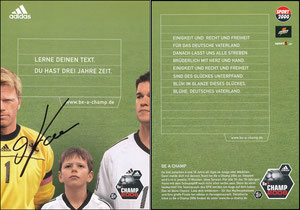 Gemeinschaftskarte, 2001, Kahn, Ballack - Be a Champ 2006, signiert Kahn Aug. 2019