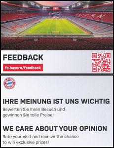 Allianz Arena, 2019, 'Feetback'-Kleinkarte