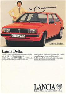 Beckenbauer, 1980, Lancia, Bildstand 'mit Lücke zwischen Rand und Reifen', OHNE Druck-AG