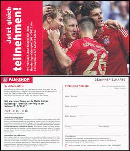 FanShop, Jahresgewinnspiel, Klappkarte 2011