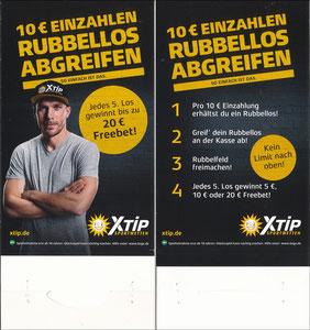 Podolski, 2018, XTip '10€ Einzahlen - Rubbellos abgreifen', Aufsteller
