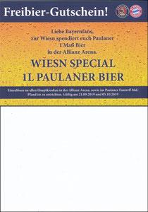 Paulaner, 2019, Wiesn Spezial Gutschein 10'2019