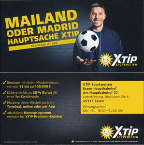 Podolski, 2018, X-Tip 'Mailand oder Madrid - Hauptsache XTip', Essen Hauptbahnhof, REGINALKARTE