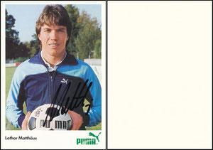 Matthäus, 1984, Puma, A6-Karte, Spielername links mittig