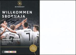 DFB, 2018, Ankündigungskarte 'Deutschland-Russland', blanko Rückseite, signiert Hummels im November 2018