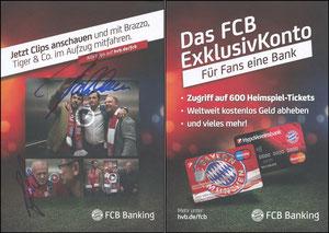 HypoVereinsbank, 2017, 'FCB Banking', A5, OHNE weißen Rand, signiert Salihamidzic im Nov. 2018 und Gerland im Februar 2019