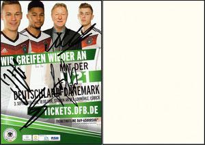 DFB, 2011, Ankündigungskarte 'Deutschland - Dänemark' U21, signiert Kimmich u.a