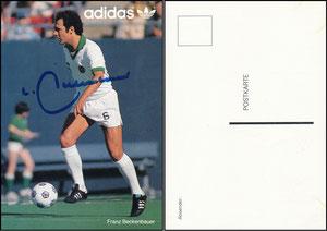 Beckenbauer, 1978, Cosmos NY', Adidas, Postkarten-Rückseite