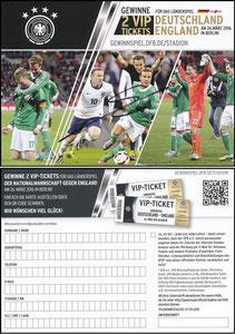 DFB, 2016 Ankündigungskarte 'Deutschland-England', signiert Götze