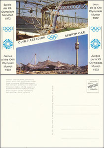 Postkarte 1972, Plympiastadion München, Witzig-Karte 105