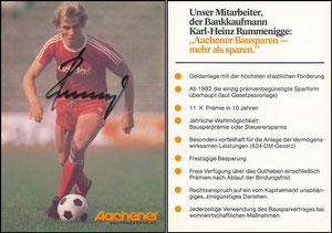 Rummenigge, 1976, Aachener Bausparkasse '11x Prämie', ohne Druck-AG