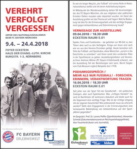 Bayern Erlebniswelt, 2018, 'Verehrt, verfolgt, vergessen', Nürnberg, Flyer