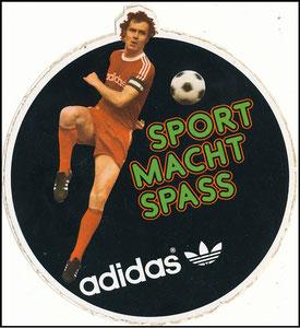 Beckenbauer, 1976, Adidas-Aufkleber 'Sport macht Spaß'