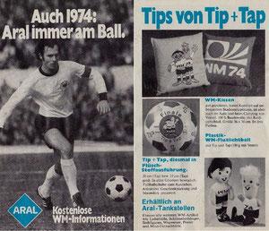 Beckenbauer, 1974, Aral, Flyer, Dank an SF Norbert