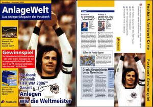 Beckenbauer, 2006, Postbank, Werbebroschüre mit Autogrammkarte,  A4