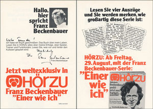 Beckenbauer, 1975, 'Einer wie ich', Buchpromotion HÖRZU, Flyer, A5