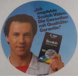 Beckenbauer, 1982, Scotch Videocassette, Aufkleber, Dank an SF Norbert