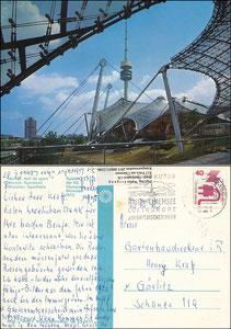 Postkarte, 1972, Olympiastadion München, 'Sporthalle', Witzig-Karte 91