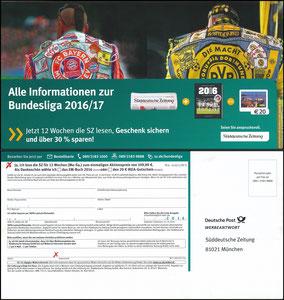 Postkarte, 2016, Bayern München, Süddeutsche Zeitung 'Kuttenmotiv'