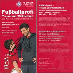 Bayern Erlebniswelt, 2016, 'Fußballprofi, Traum und Wirklichkeit', offizieller Flyer